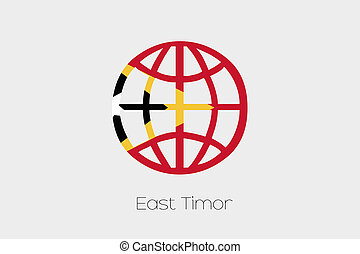 Flag Illustration inside a world icon of East Timor - A Flag...