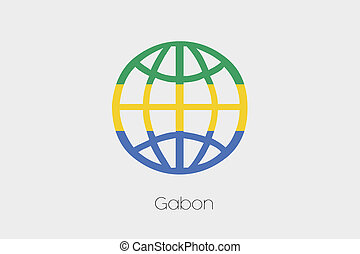 Flag Illustration inside a world icon of Gabon - A Flag...