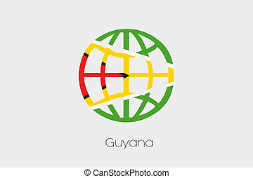 Flag Illustration inside a world icon of Guyana - A Flag...