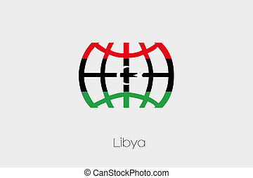 Flag Illustration inside a world icon of Libya-42 - A Flag...
