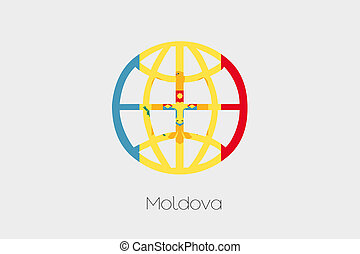 Flag Illustration inside a world icon of Moldova - A Flag...