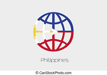 Flag Illustration inside a world icon of Philippines - A...
