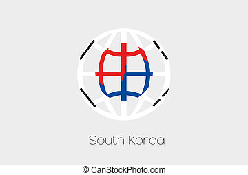 Flag Illustration inside a world icon of South Korea - A...
