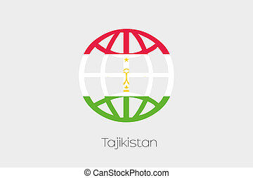 Flag Illustration inside a world icon of Tajikistan - A Flag...