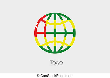 Flag Illustration inside a world icon of Togo - A Flag...