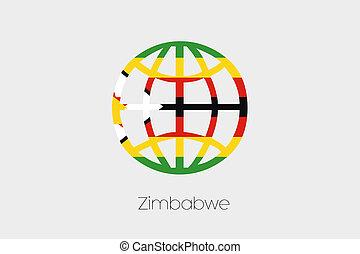 Flag Illustration inside a world icon of Zimbabwe - A Flag...