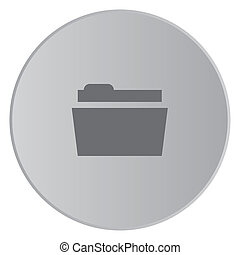 Grey Icon Isolated on a Button with Grey Background - Folder...