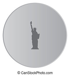 Grey Icon Isolated on a Button with Grey Background - Statue...