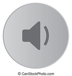 Grey Icon Isolated on a Button with Grey Background - Volume...