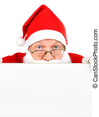 Santa Claus with Blank Board - Surprised Santa Claus with...