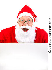 Santa Claus with Blank Board - Happy Santa Claus with Blank...