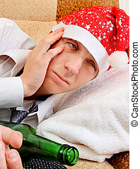 Young Man in Alcohol Addiction - Young Man Hangover after...