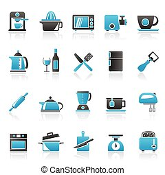 Kitchenware objects icons - Kitchenware objects and...