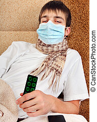 Sick Young Man in Flu Mask - Sick Teenager in Flu Mask on...