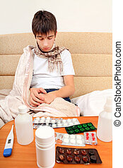 Sick Young Man - Sad and Sick Young Man on the Sofa at the...