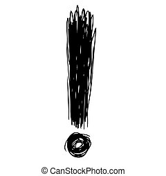 exclamation mark - freehand sketch illustration of...