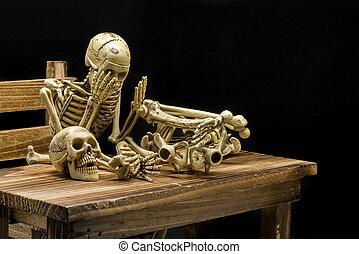 Still life of model skeleton in Halloween concept - Still...