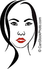 woman face  element drawing for design