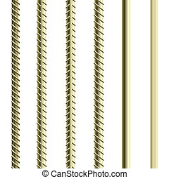 Rebars, Reinforcement Steel Isolated on White Background...