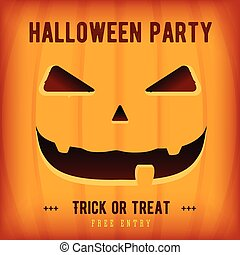 Halloween Party Poster Design template with orange pumpkin -...