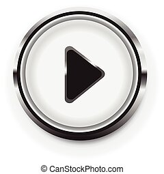 Simple rounded circle play button for multimedia, start video, music and activation concepts