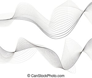 Abstract grey wave isolated on white background Vector...