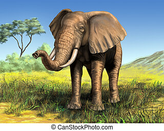 African elephant - Wildlife: elephant in its native african...