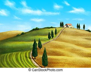 Tuscany landscape - Farmland in Tuscany, Italy Original...