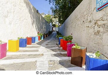 Mykonos alley, Greece - A typical greek island cobbled alley...