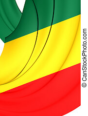 Republic of the Congo Flag. Close Up.
