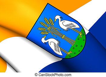 Flag of Heerhugowaard City North Holland, Netherlands - 3D...