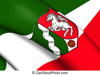Flag of North Rhine-Westphalia, Germany - 3D Flag of North...