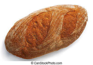Simply Bread. - Loaf of oval wheat bread on white...