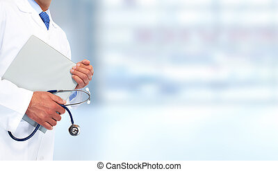 Hands of medical doctor with clipboard. Health care...