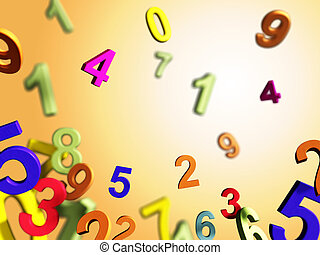 Numbers composition on a yellow/orange background. Digital...