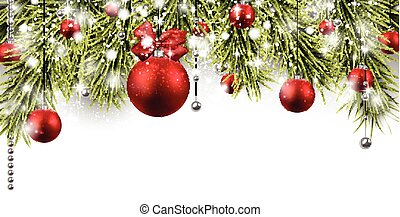 Christmas banner with spruce twigs. - Winter banner with...