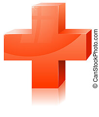 Red cross Vector illustration