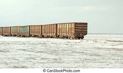 Old rusty train wagons with stalactites of salt at the lake...