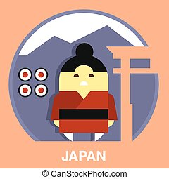 Japanese Man Vector Illustration - Japan resident wearing...