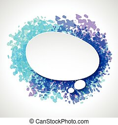 Abstract white paper speech bubble on color grunge...