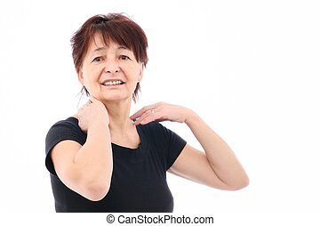 Neck pain - Senior woman with neck pain