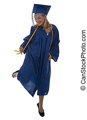 Girl graduate in blue gown - Graduation day for a blond...