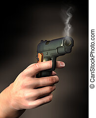 Hand with gun - Smoking gun held by a male hand Digital...
