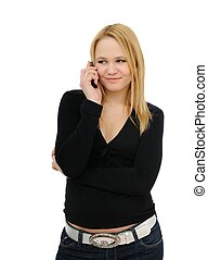 Blond teenager calling with mobile phone