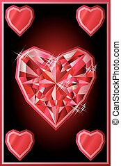 Ruby hearts poker card, vector illustration