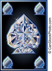Diamond spades poker card, vector illustration