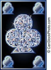 Diamond clubs poker card, vector illustration