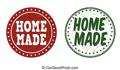 Home made stamps - Home made grunge rubber stamps on white...