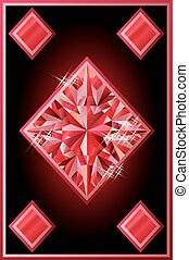 Ruby diamonds poker card, vector illustration