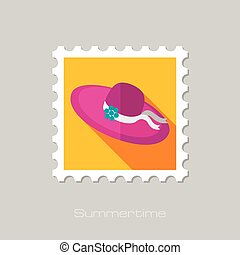 Beach Hat flat stamp with long shadow, eps 10
